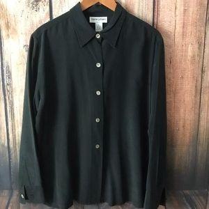 Bloomingdale's Sz XL Black Button Down 100% Silk